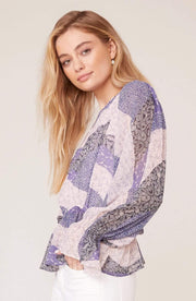 BB Dakota Tops Blouse X Small / Steel Lavender / BK104013 Easy Breezy Long Sleeve Top Steel Lavender