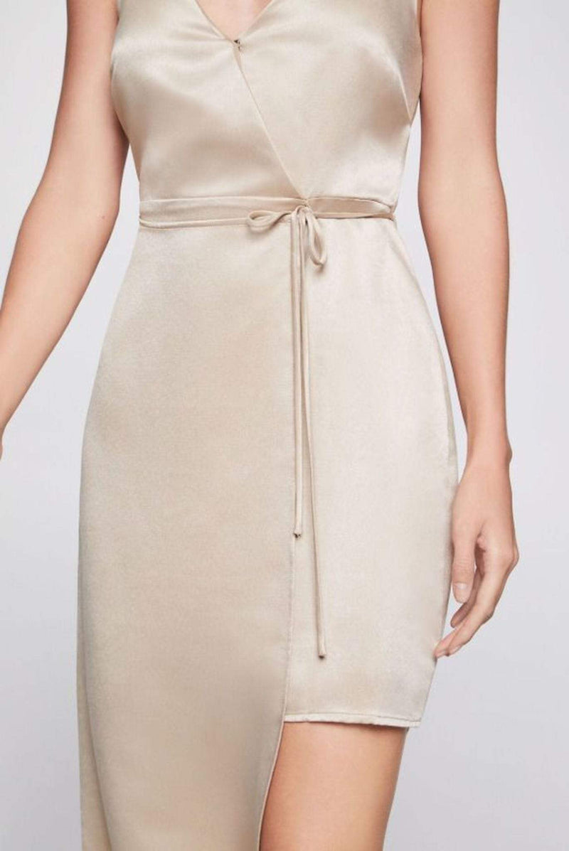 Serena Asymmetrical Dress Pale Gold