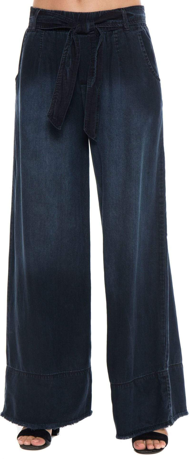 The Belted Wide Leg Pant Sky Wash