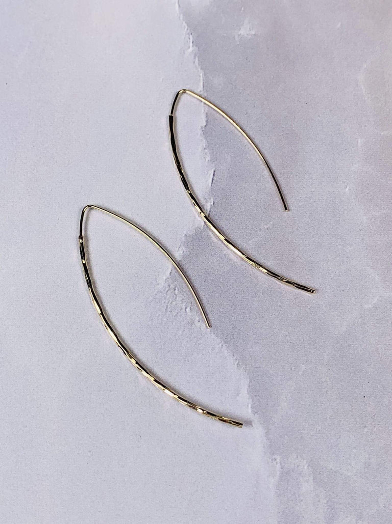Bijoux Earring One Size / Gold / 149-E6318-GD Archer Hammered Wire Drop Earrings Gold