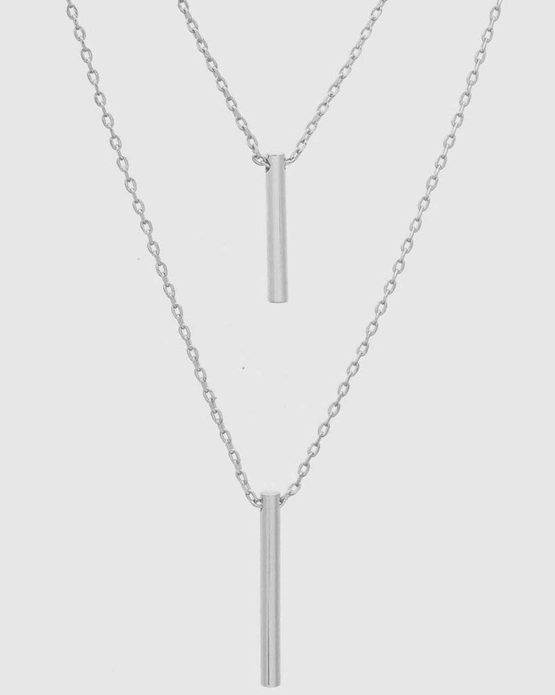 Zari Layered Bar Necklace Silver