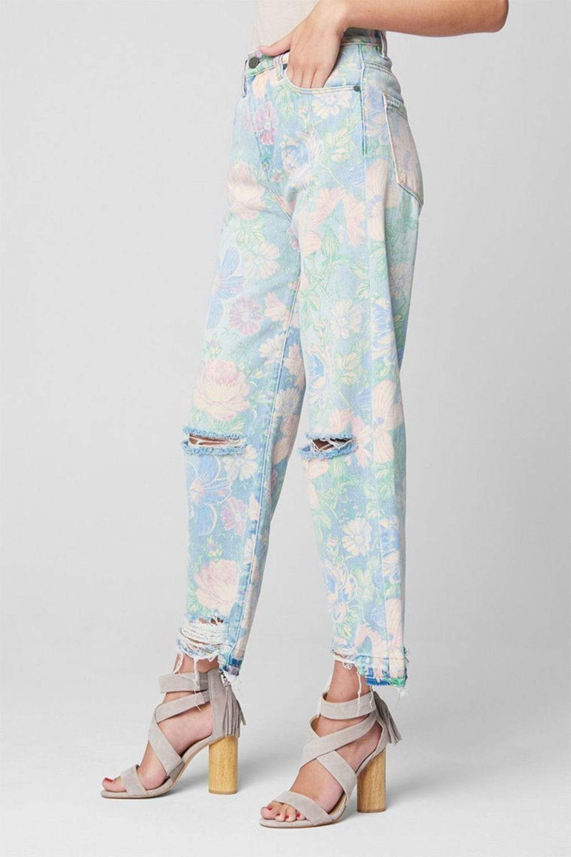 Blank NYC Denim Nirvana Floral Destructed Denim Multi