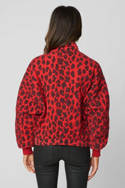 Blank NYC Jacket Fierce Leopard Quilted Jacket Red/Black