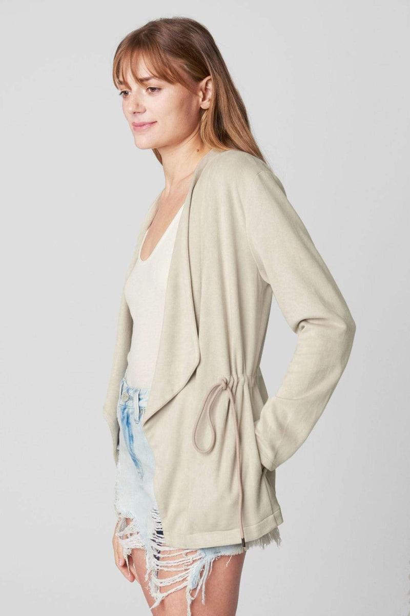 Blank NYC Jacket Off the Grid Suede Drape Front Jacket Cream