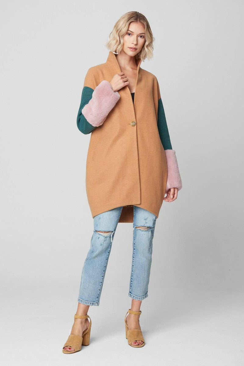 Blank NYC Jacket Out of Office Colorblock Coat Orange Multi