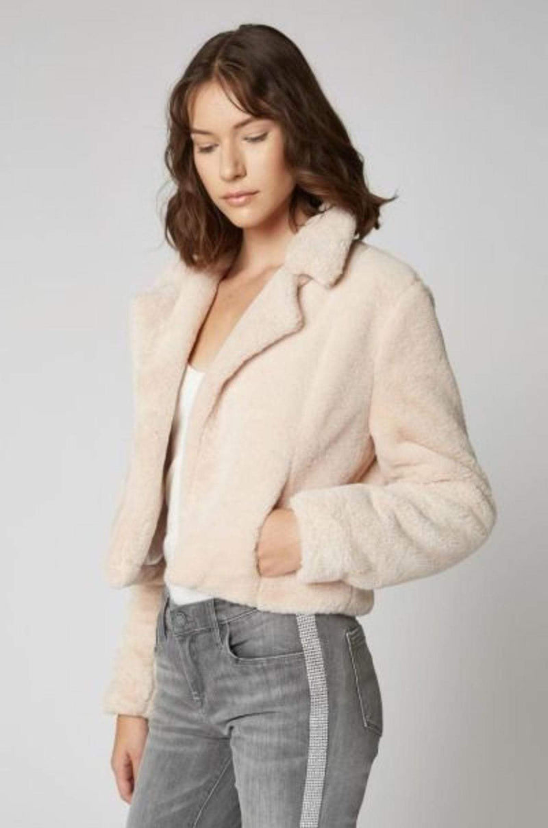 Cream Puff Faux Fur Cropped Blazer