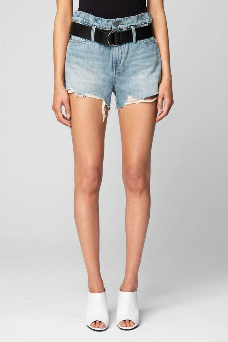 Blank NYC Shorts Risk Taker High Rise Belted Denim Shorts Light Blue