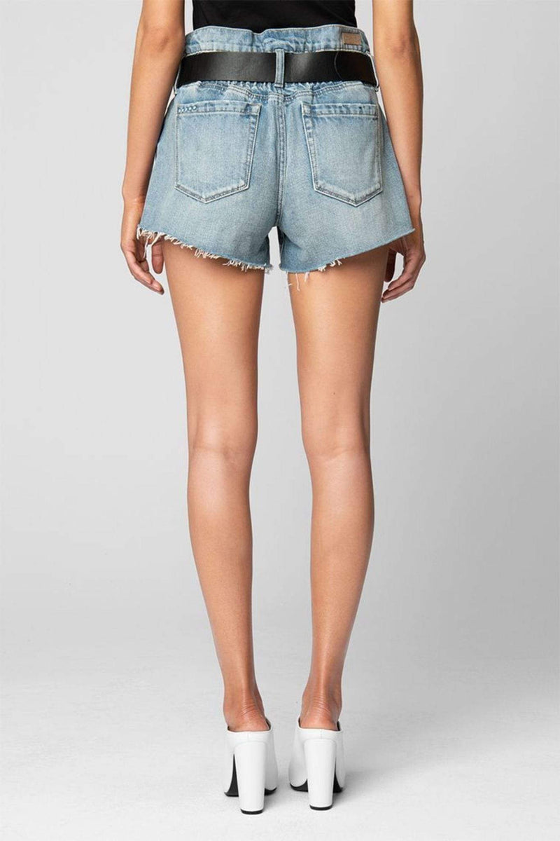 Blank NYC Shorts Size 24 / Light Blue / 95R-8503 Risk Taker High Rise Belted Denim Shorts Light Blue