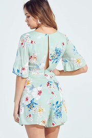 Blue Blush Dress Dahlia Floral Wrap Romper Sage