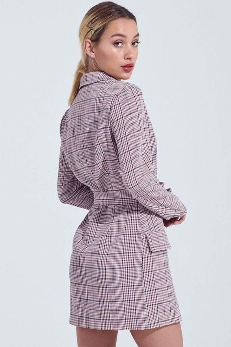 Blue Blush Dress Maddox Checker Blazer Dress Berry/Navy