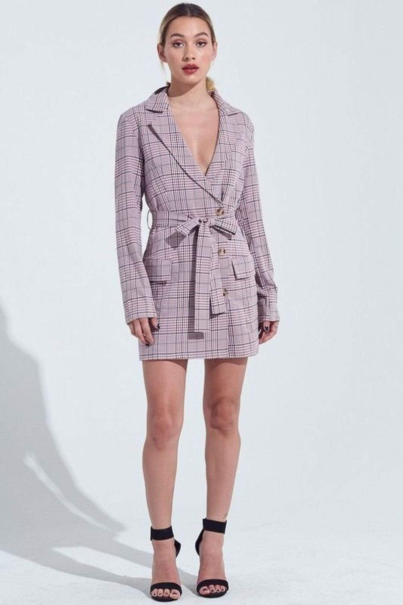 Maddox Checker Blazer Dress BerryNavy