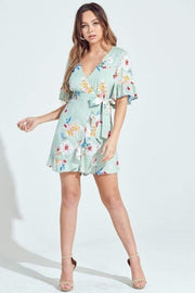 Blue Blush Dress X Small / Sage / IBR81833 Dahlia Floral Wrap Romper Sage