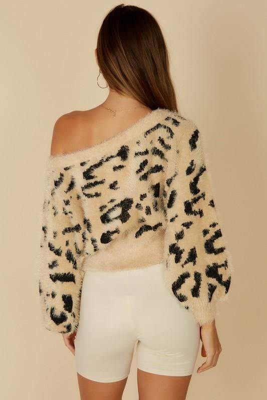 Blue Blush Sweater Arlo Leopard Off the Shoulder Sweater Tan/Black