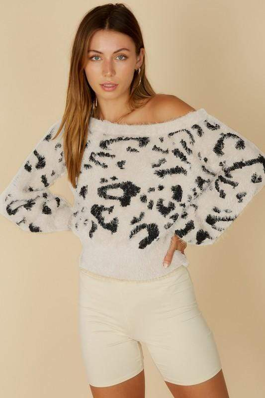 Blue Blush Sweater Arlo Leopard Off the Shoulder Sweater White/Black
