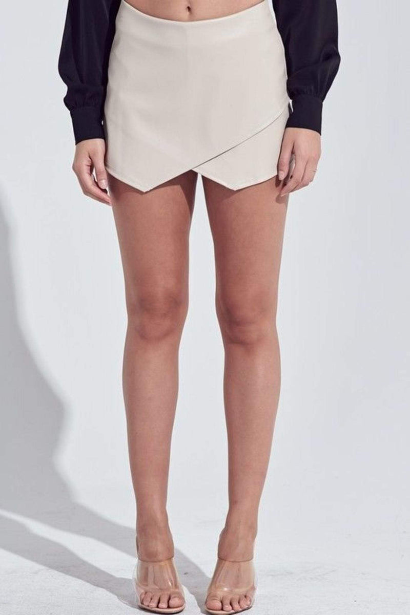 Bridget Leather Envelope Skort Ivory
