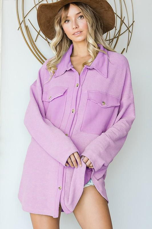 Bucketlist Tops Blouses Oversized Shirt Top With Big Chest Pockets in Lavender