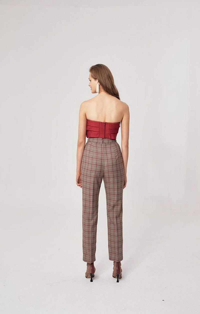 Hybrid Plaid Pants Taupe