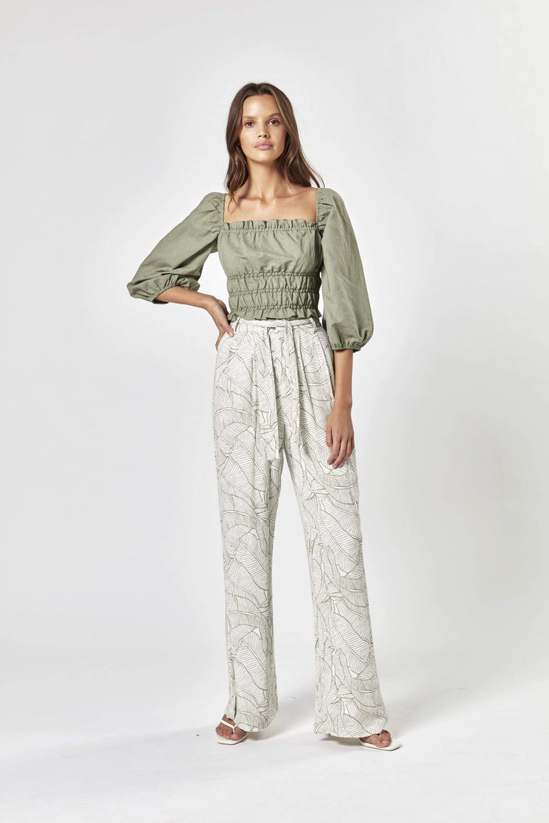 Charlie Holiday Bottoms Bask Banana Leaf Pant Olive Multi