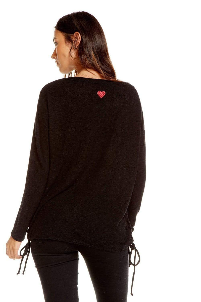 Chaser Sweater Large / Black Cheetah / CW6979-CHA3020 Side Lace Dolman Boatneck Pullover