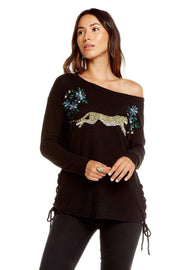Chaser Sweater Side Lace Dolman Boatneck Pullover