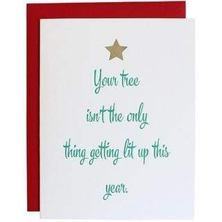 Tree Getting Lit Up Foil Letterpress Card