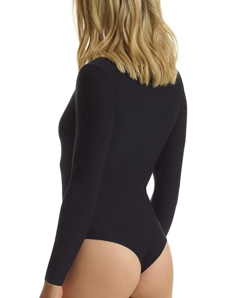 Commando Bra Butter Long Sleeve V-Neck Bodysuit Black