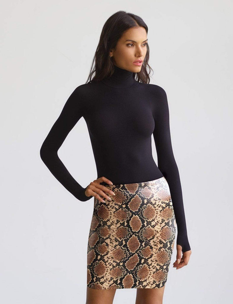 Faux Leather Mini Skirt Snake