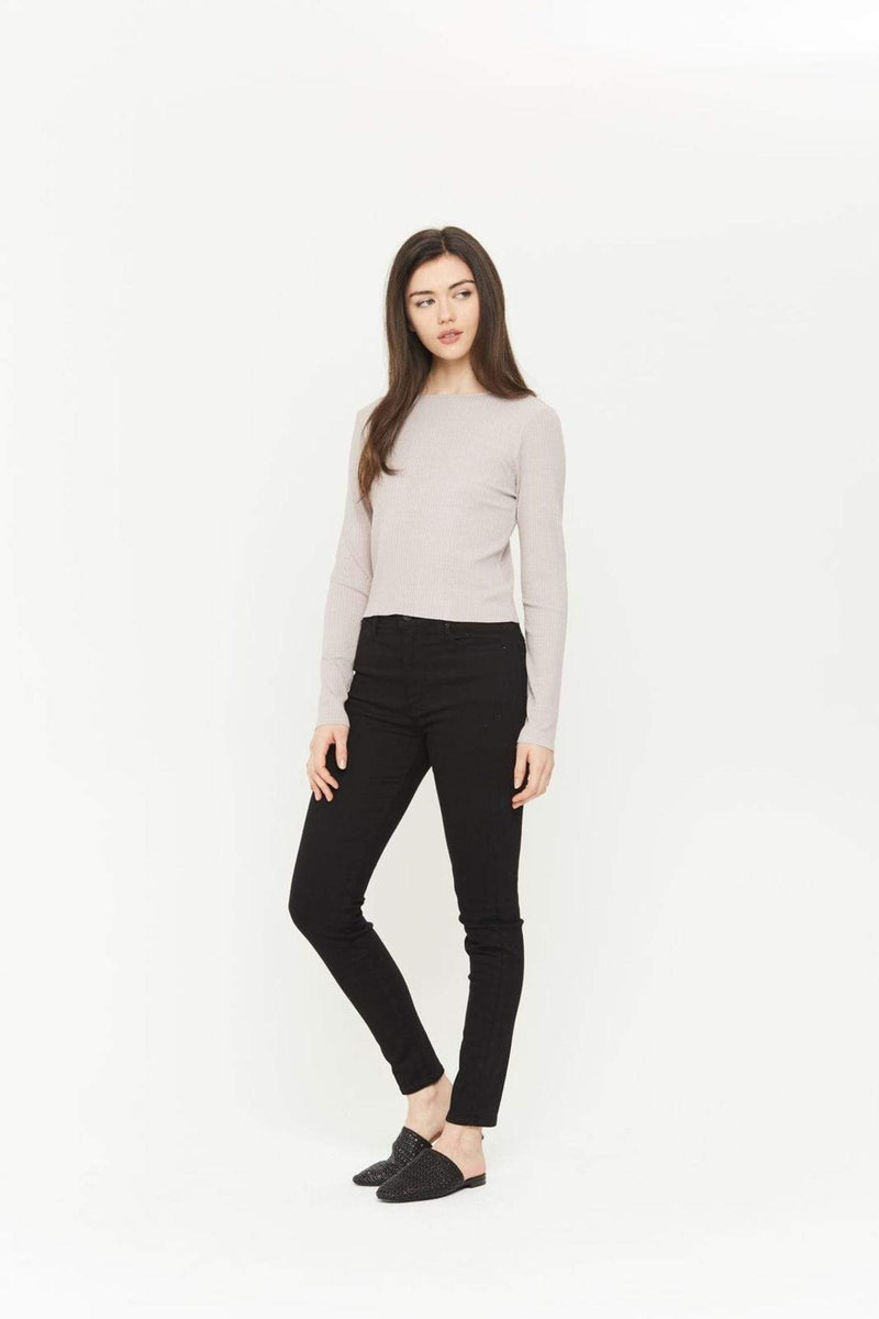 Zuma Long Sleeve Boatneck Crop Top Mauve