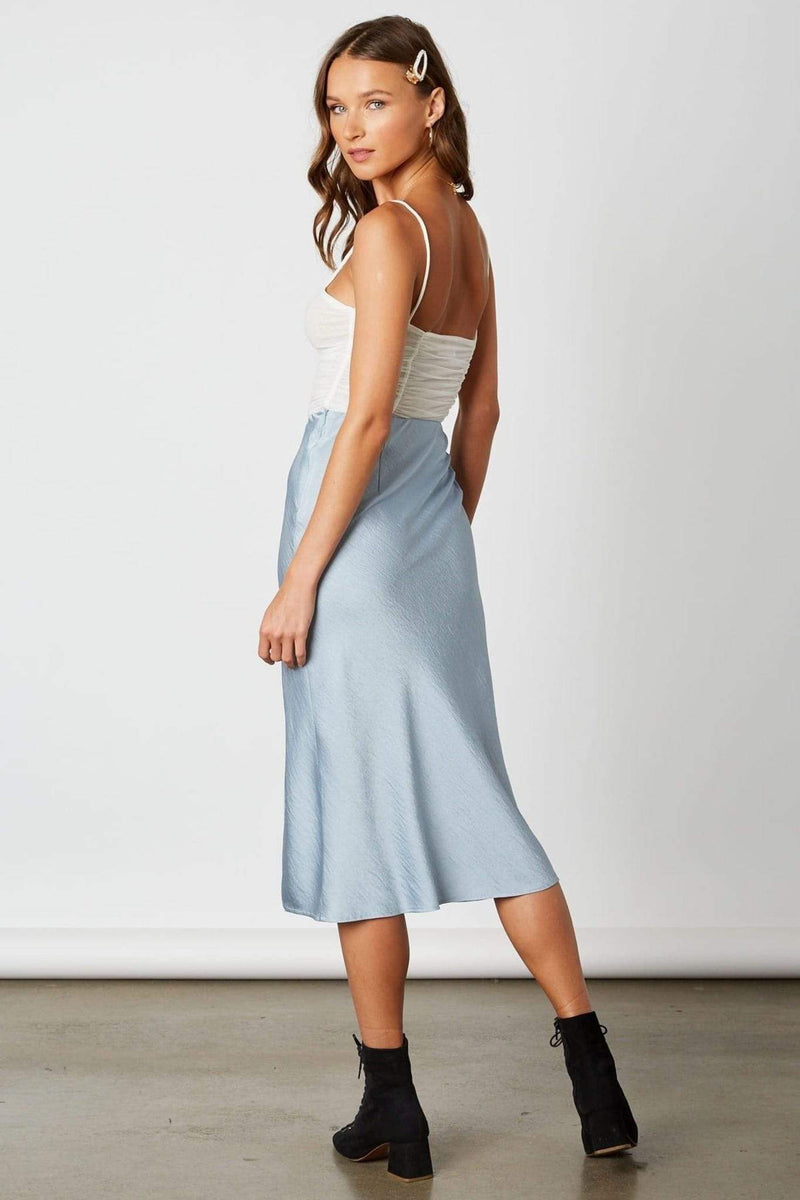 Cotton Candy Skirt X Small / Chambray / CP-10139 Cora Midi Skirt Chambray