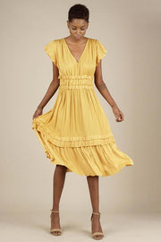 Current Air Dress Dalila Pleated Dress Marigold
