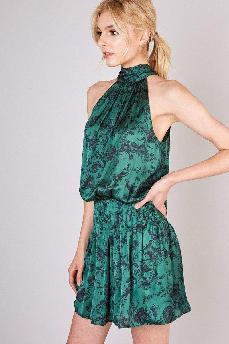 Do and Be Dress Aletta Mock Neck Tie Dress Forest Green