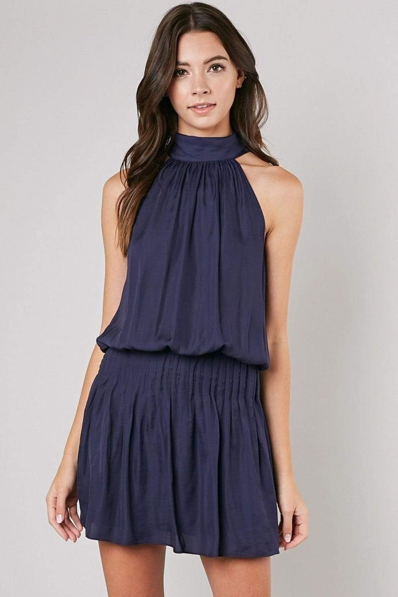 Ayana Mock Neck Tie Dress Navy