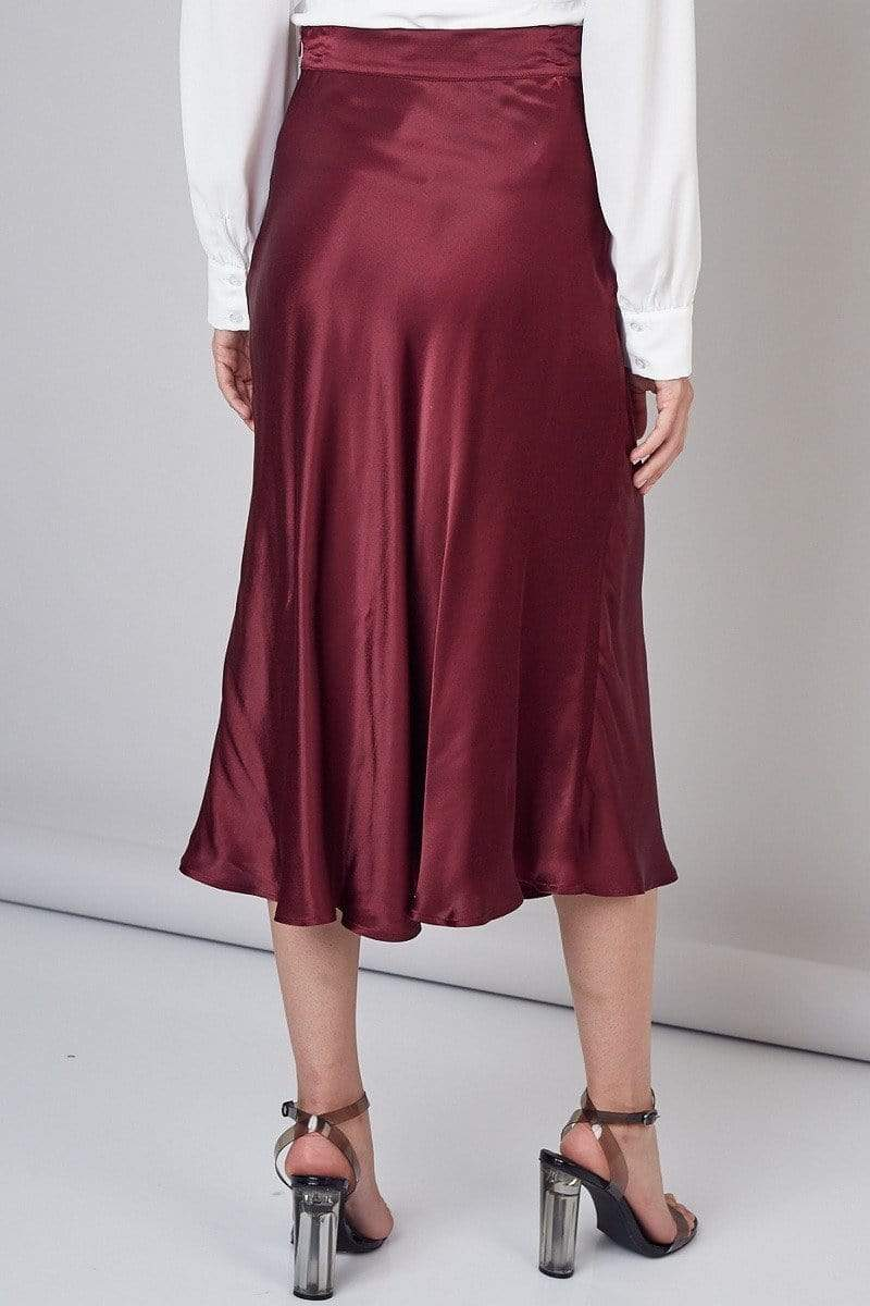 Sawyer Flare Midi Skirt Wine
