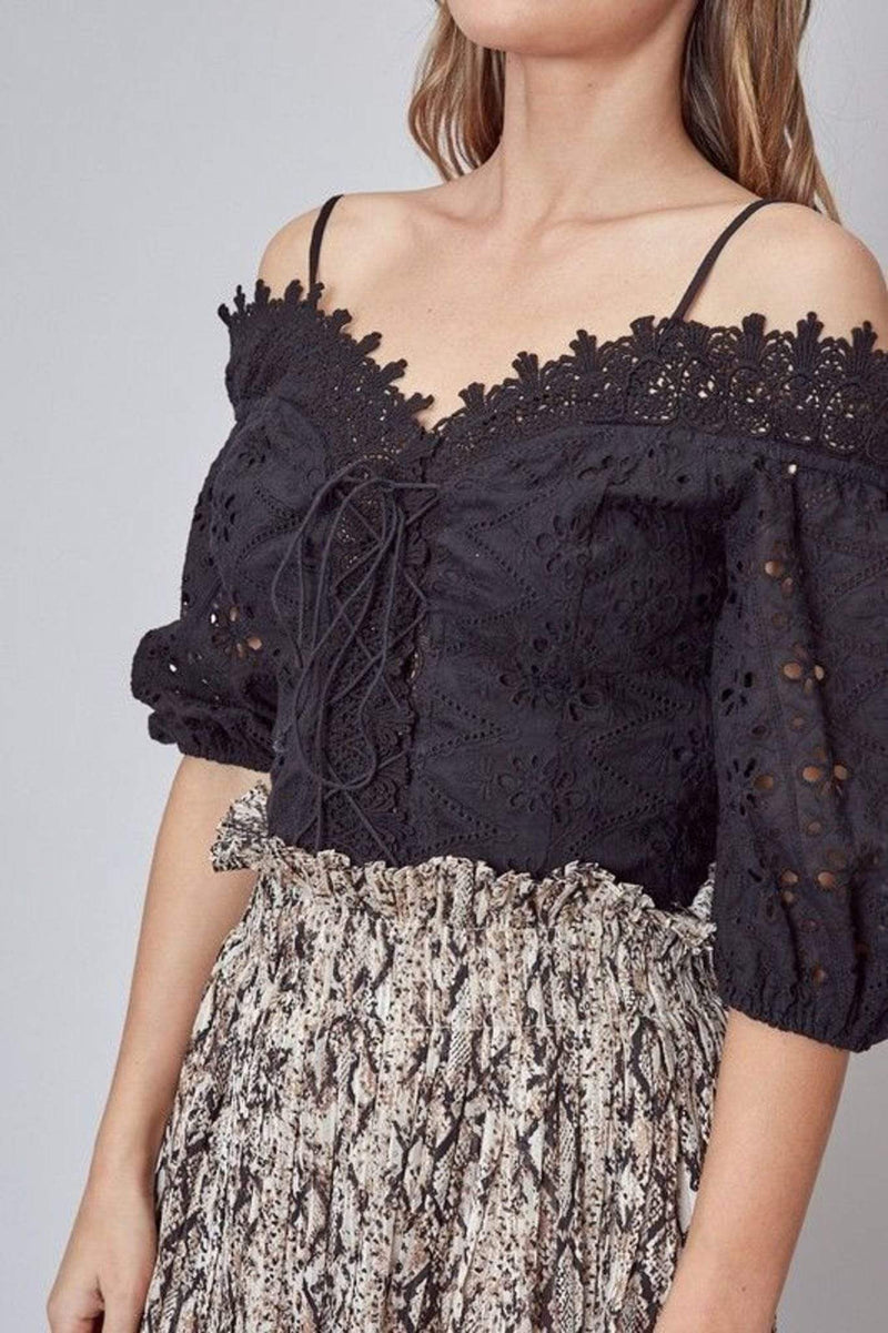 Abiba Off the Shoulder Lace Top Black