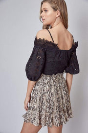 Do and Be Tops Blouse Abiba Off the Shoulder Lace Top Black
