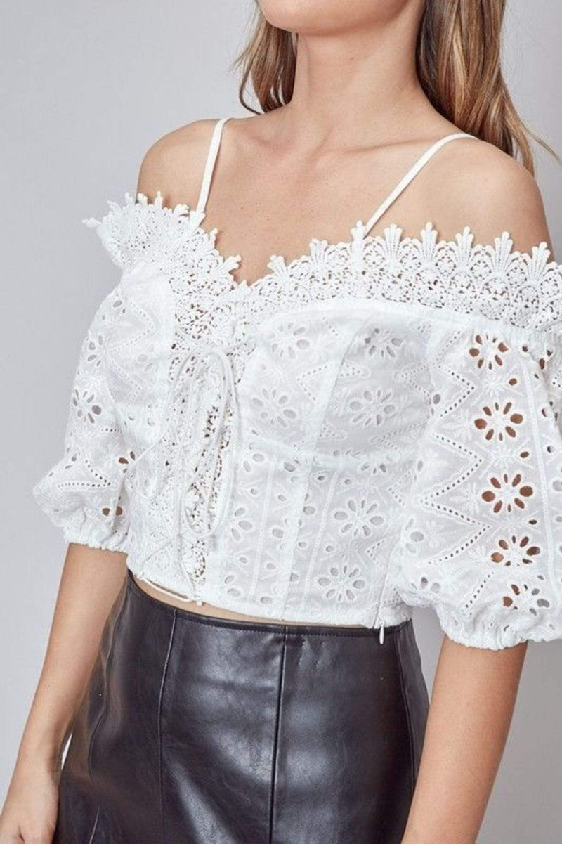 Abiba Off the Shoulder Lace Top White