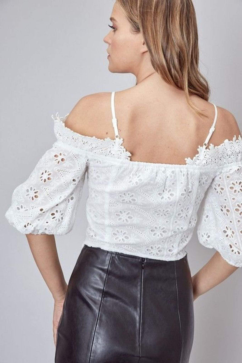 Do and Be Tops Blouse Abiba Off the Shoulder Lace Top White