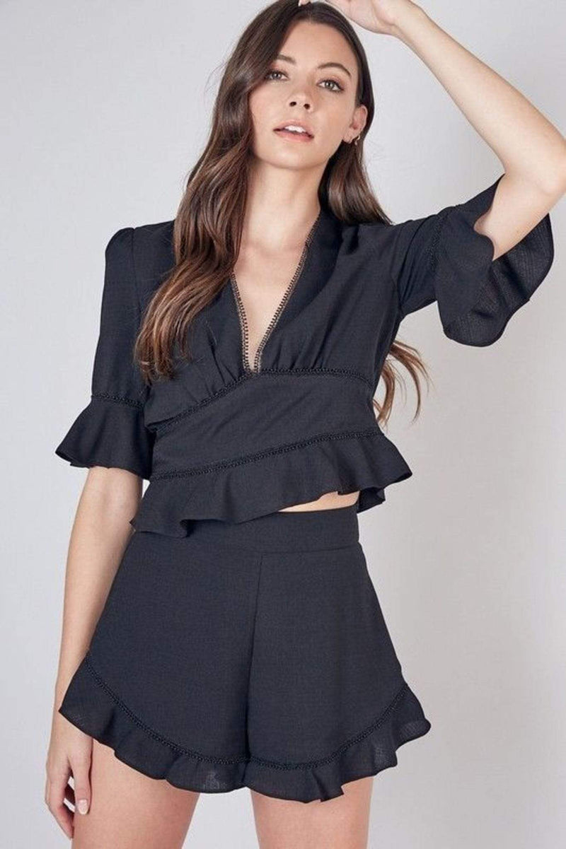 Do and Be Tops Blouse Everett Short Sleeve Crop Top Black