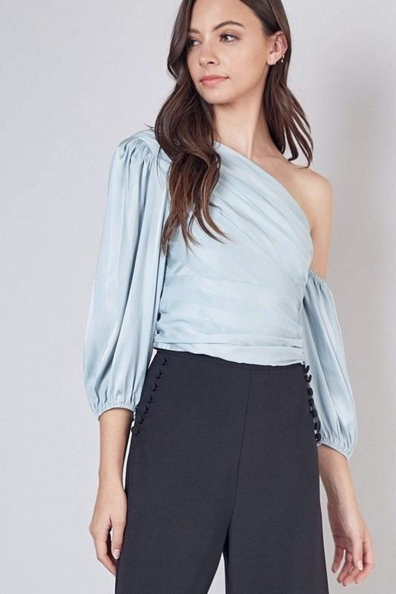 Isla One Shoulder Crop Top Cloud Blue