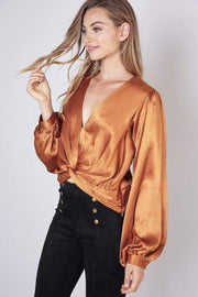 Do and Be Tops Blouse Piper Twist Front Crop Top Caramel