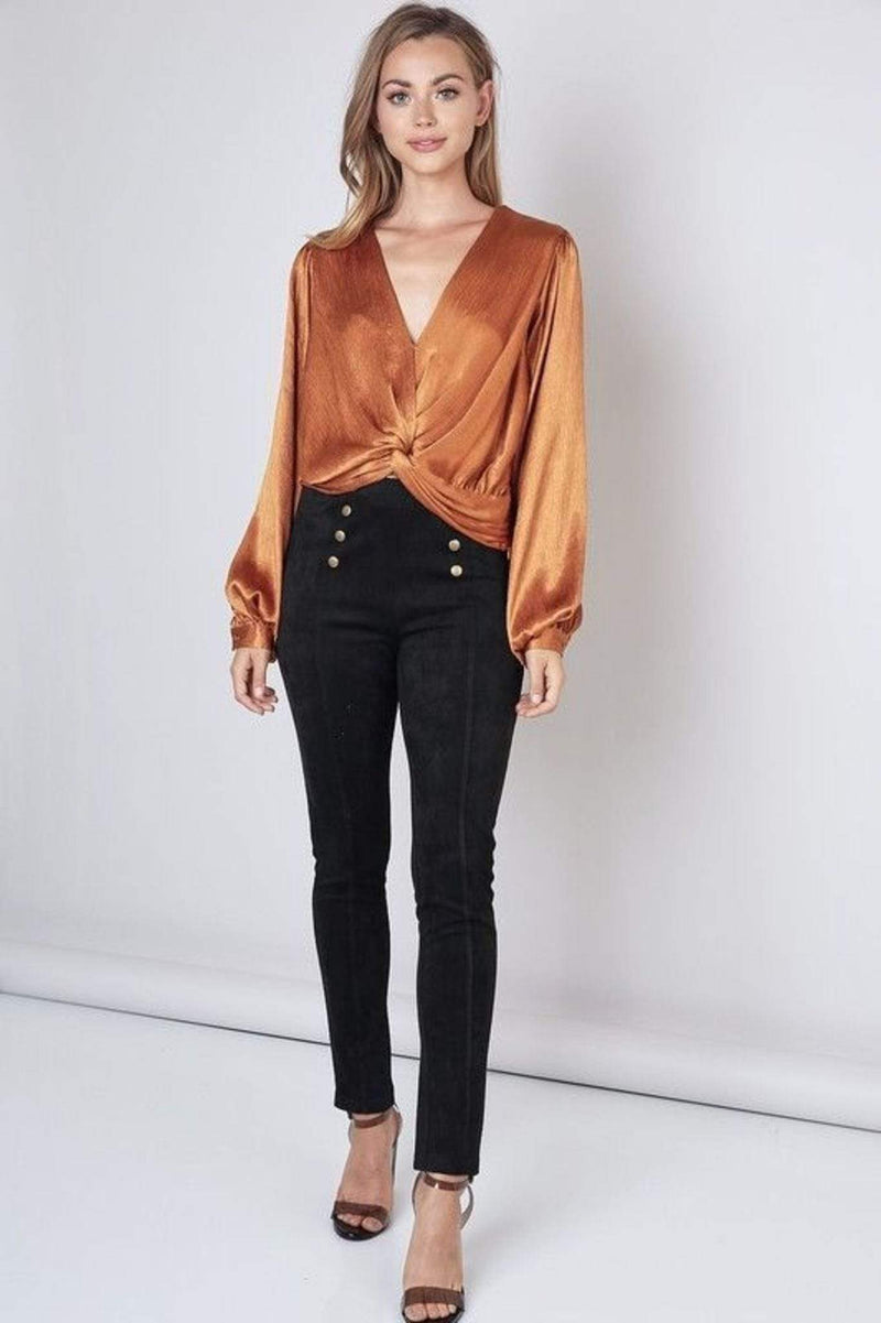 Do and Be Tops Blouse X Small / Caramel / Y17322 Piper Twist Front Crop Top Caramel