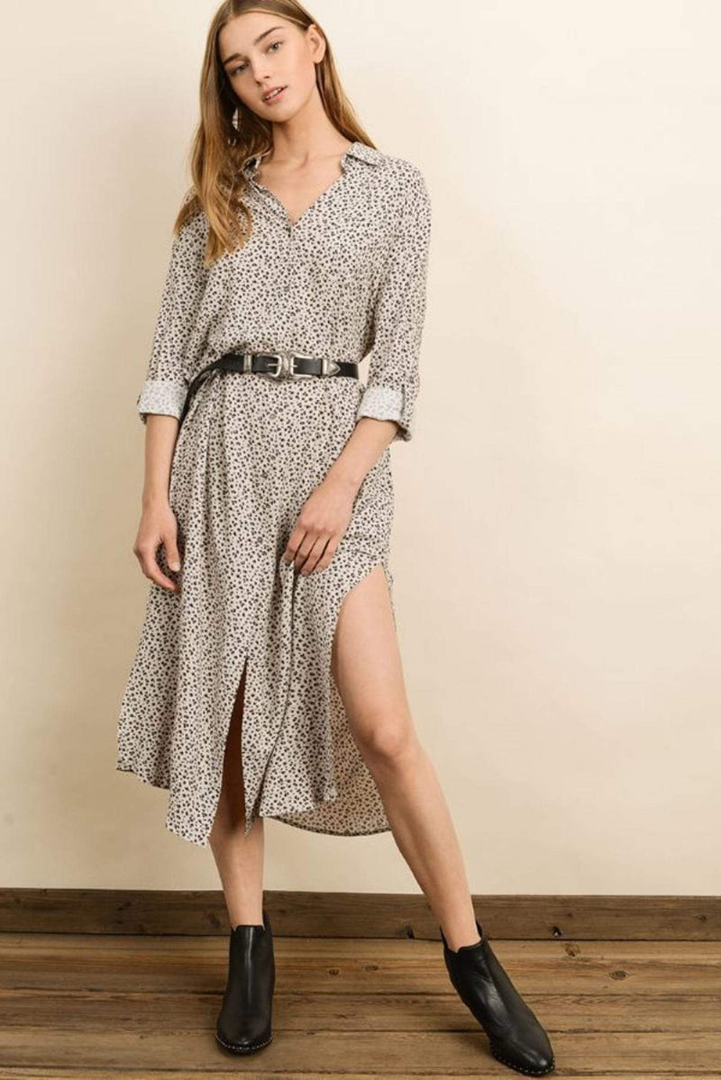 Dress Forum Dress Bahari Leopard Shirt Dress Ecru/Charcoal