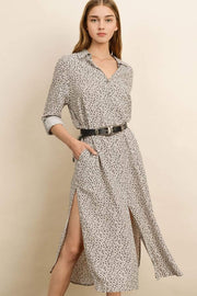 Dress Forum Dress Large / Ecru/Charcoal / FD3541 Bahari Leopard Shirt Dress Ecru/Charcoal