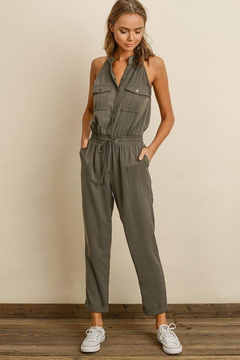 Dress Forum Dress X Small / Deep Sage / FP2622 Felix Sleeveless Button Front Jumpsuit Deep Sage