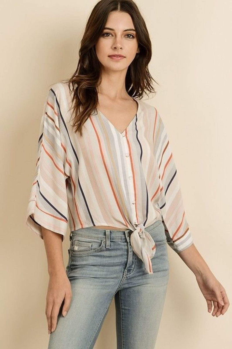 Ariela Striped Knotted Top Multi
