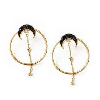 Elizabeth Stone Earring One Size / Black/Gold / ESJ009B Partial Eclipse Earrings BlackGold