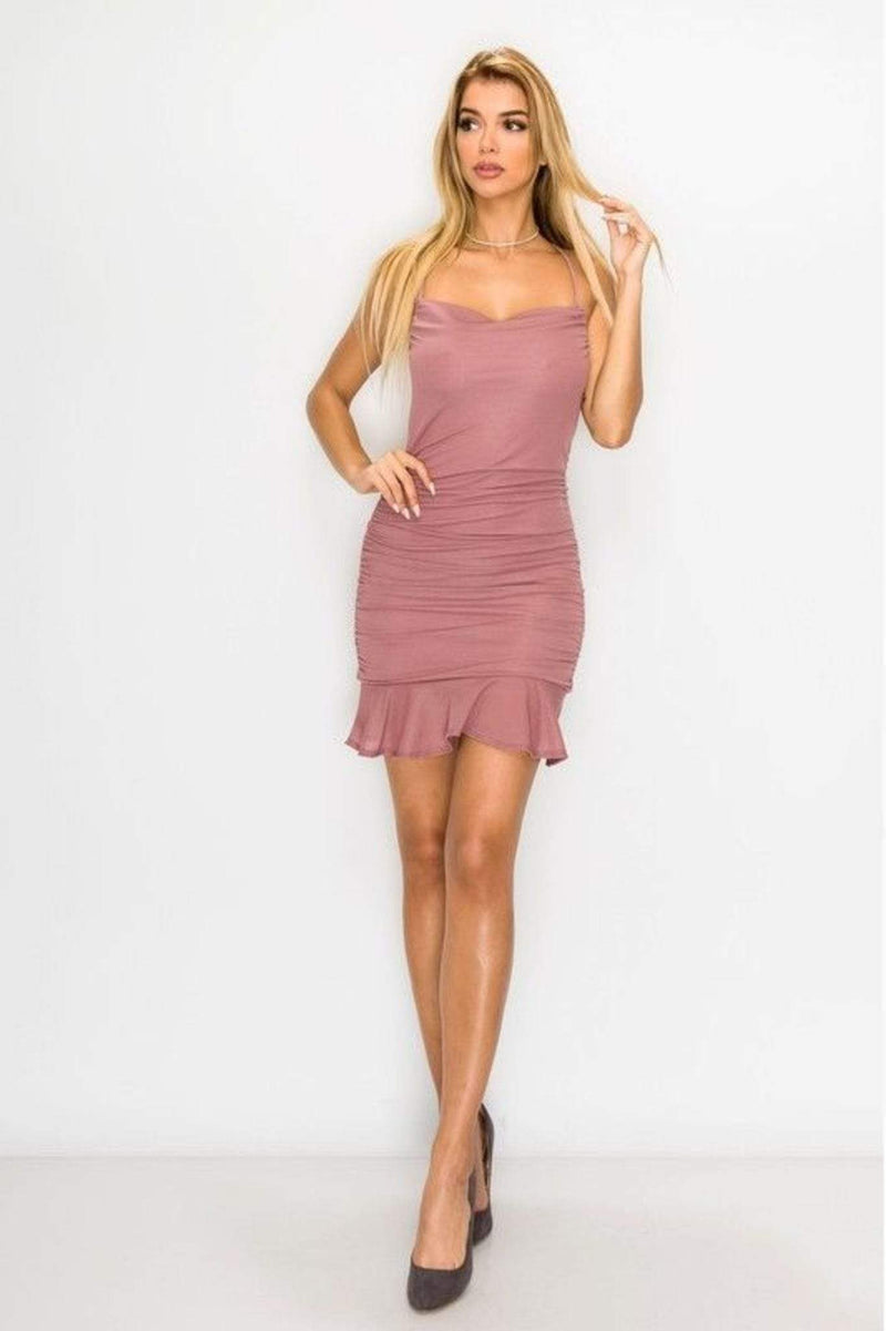 Veanna Ruched Mini Dress Mauve