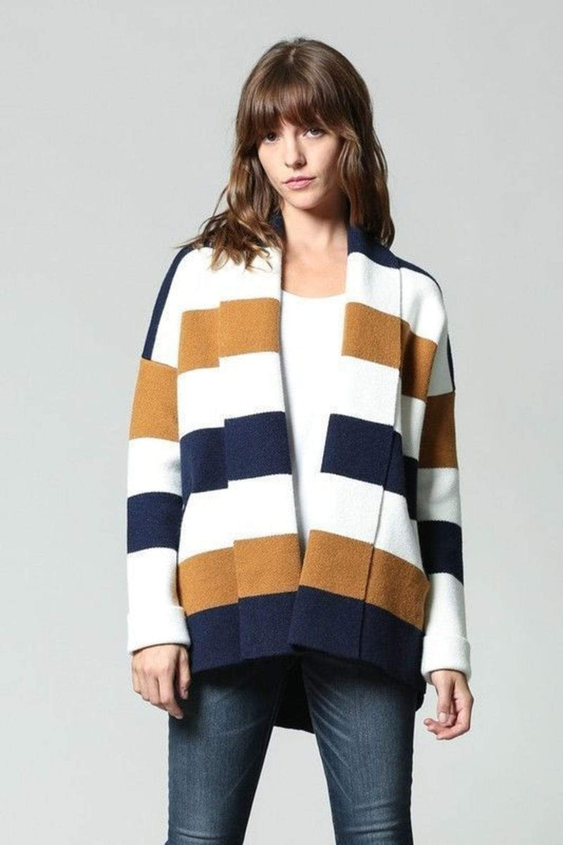 fate Sweater Large / Navy/Cream/Mustard / FC-66 Penelope Stripe Cardigan Navy/Cream/Mustard