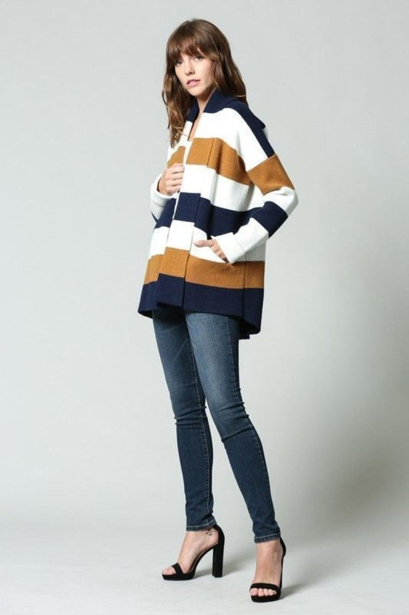 fate Sweater Penelope Stripe Cardigan Navy/Cream/Mustard