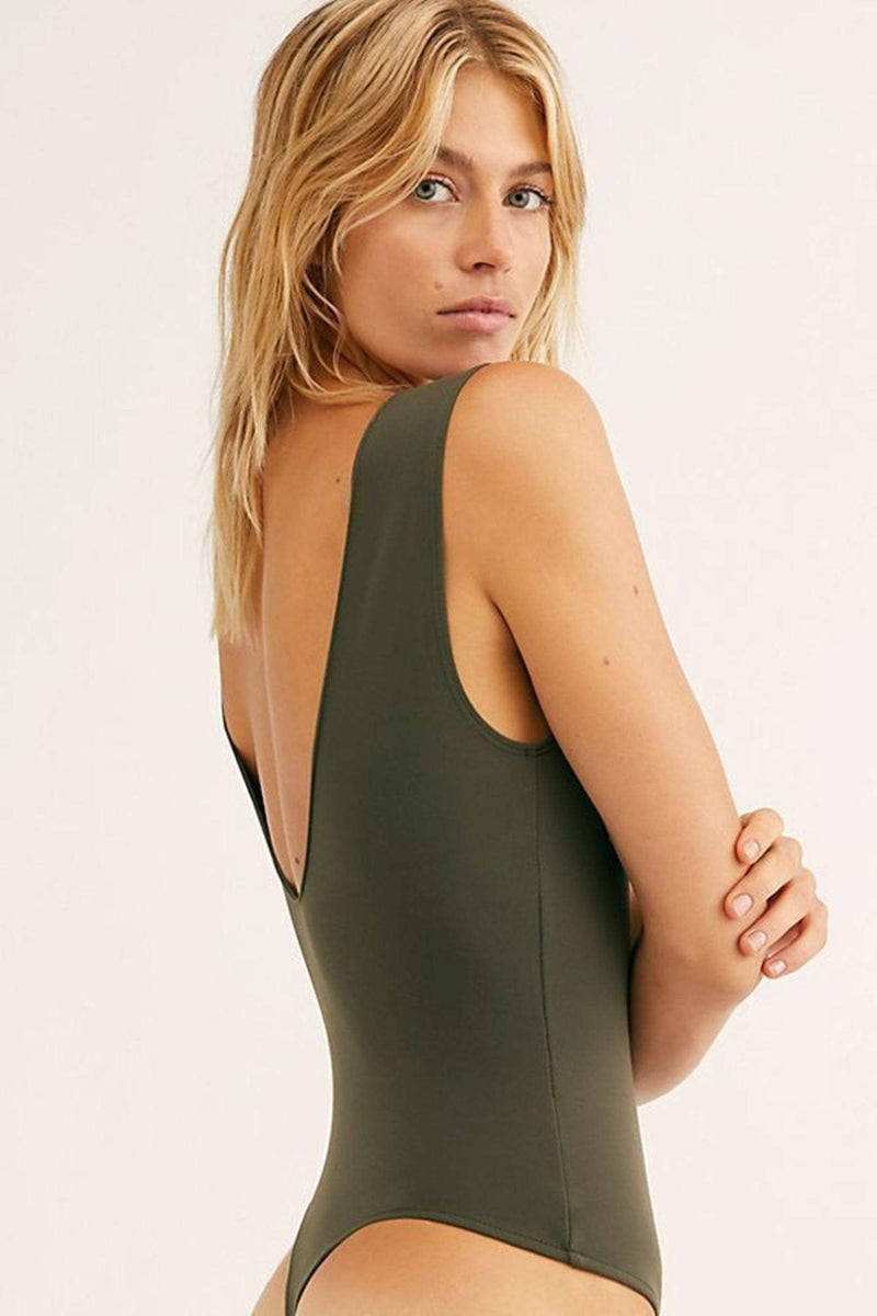 Free People Bra Keep It Sleek Bodysuit Army
